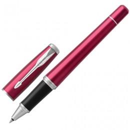 Ручка-роллер PARKER Urban Core Vibrant Magenta CT, корпус пурпурный глянцевый лак, хромированные детали, черная, 1931590