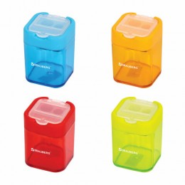 Точилка BRAUBERG Peak с контейнером, пластиковая, прямоугольная, 2 отверстия, цвет ассорти, 226945