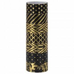 Клейкие WASHI-ленты для декора с фольгой ЧЕРНОЕ ЗОЛОТО, 15 мм х 3 м, 7 шт., рисовая бумага, ОСТРОВ СОКРОВИЩ, 661714