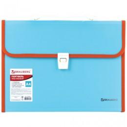 Портфель пластиковый BRAUBERG Joy, А4 (330х245х35 мм), 13 отделений, с окантовкой, индексные ярлыки, бирюзовый, 227976