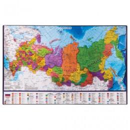 Коврик-подкладка настольный для письма BRAUBERG, 380х590 мм, с картой России, 236776