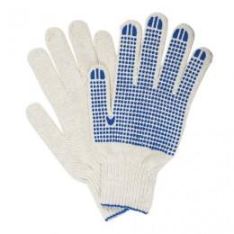 Перчатки хлопчатобумажные 7 класс, 65-67 г, 216 текс, ПВХ-точка, комплект 5 пар, ЛАЙМА ПРОФИ XL, белые, 604472