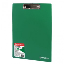 Доска-планшет BRAUBERG Contract сверхпрочная с прижимом А4 (313х225 мм), пластик, 1,5 мм, ЗЕЛЕНАЯ, 228682