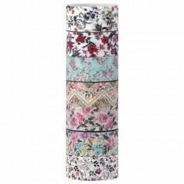 Клейкие WASHI-ленты для декора ЦВЕТОЧНЫЙ МИКС, 15 мм х 3 м, 7 цветов, рисовая бумага, ОСТРОВ СОКРОВИЩ, 661707
