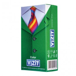 Презервативы латексные VIZIT Color, комплект 12 шт., цветные ароматизированные, 101010331