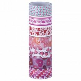 Клейкие WASHI-ленты для декора СЕРДЦА, 15 мм х 3 м, 7 цветов, рисовая бумага, ОСТРОВ СОКРОВИЩ, 661708