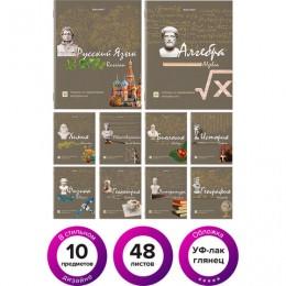 Тетради предметные, КОМПЛЕКТ 10 ПРЕДМЕТОВ, STATUS, 48 листов, глянцевый УФ-лак, BRAUBERG, 404027