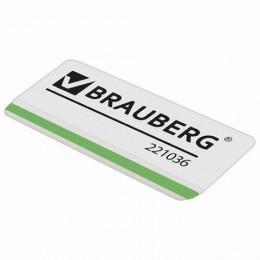Ластик BRAUBERG Partner, 57х18х8 мм, белый, прямоугольный, скошенные края, термопластичная резина, 221036