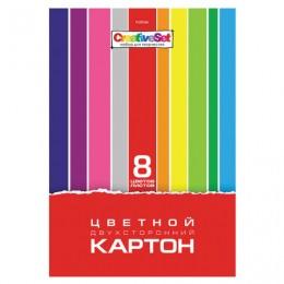 Картон цветной А4 2-сторонний МЕЛОВАННЫЙ, 8 листов, 8 цветов, в папке, HATBER, 195х280 мм, Creative Set, 8Кц4, 8Кц4_05934