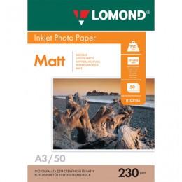 Фотобумага для струйной печати БОЛЬШОГО ФОРМАТА, A3, 230 г/м2, 50 листов, односторонняя матовая, LOMOND, 0102156
