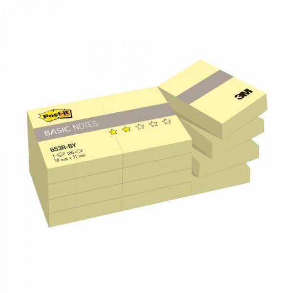 Блоки самоклеящиеся (стикеры) POST-IT Basic 38х51 мм, КОМПЛЕКТ 12 шт. по 100 л., желтые, 653R-BY