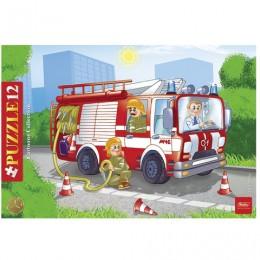 Пазл в рамке, 12 элементов, А4, Пожарная машина, 200х300 мм, 12ПЗ4 09342, U102107