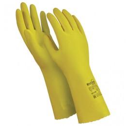 Перчатки латексные MANIPULA Блеск, хлопчатобумажное напыление, размер 10-10,5 (XL), желтые, L-F-01