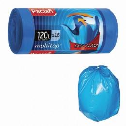 Мешки для мусора 120 л, с ушками, синие, рулон 15 шт., ПВД, 24 мкм, 70х118 см, PACLAN Multitop, 402045