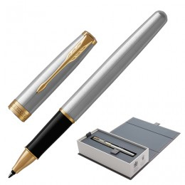 Ручка-роллер PARKER Sonnet Core Steel GT, корпус серебристый, позолоченные детали, черная, 1931506