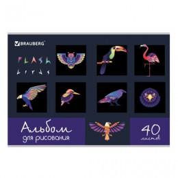 Альбом для рисования А4 40 л., скоба, выборочный лак, BRAUBERG, 202х285 мм, Птицы (1 вид), 105098