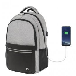Рюкзак BRAUBERG URBAN универсальный, с отд. для ноутбука, USB-порт, Detroit, сер, 46х30х16 см,229894