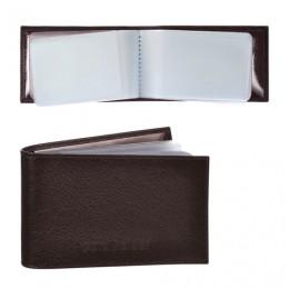 Визитница карманная BEFLER Грейд на 40 визитных карт, натуральная кожа, тиснение, коричневая, K.5.-9