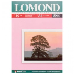 Фотобумага LOMOND для струйной печати, А4, 150 г/м2, 50 л., односторонняя глянцевая, 0102018