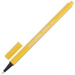 Ручка капиллярная BRAUBERG Aero, ЖЕЛТАЯ, трехгранная, металлический наконечник, линия письма 0,4 мм, 142248