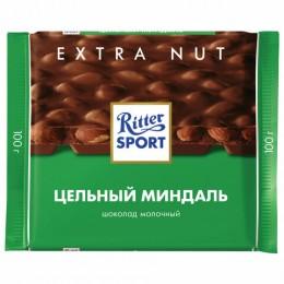 Шоколад RITTER SPORT Extra Nut, молочный, с цельным миндалем, 100 г, Германия, 7036