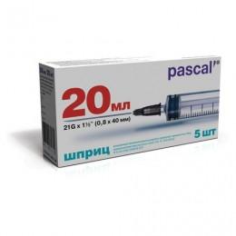 Шприц 3-х компонентный PASCAL, 20 мл КОМПЛЕКТ 5 шт. в коробке, игла 0,8х40 - 21G, ш/, 120608