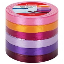 Лента атласная ширина 12 мм, набор №2 6 цветов по 23 м, BRAUBERG, 591500