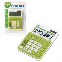 Калькулятор CASIO настольный MS-20NC-GN-S, 12 разрядов, двойное питание, 150х105 мм, блистер, белый/зеленый, MS-20NC-GN-S-EC