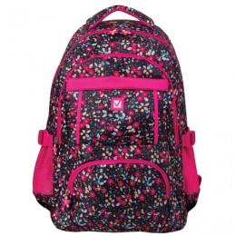 Рюкзак BRAUBERG для старшеклассников/студентов/молодежи, узоры, Цветы, 26 литров, 45х31х12 см, 226357