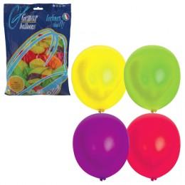 Шары воздушные 12 (30 см), комплект 100 шт., 12 неоновых цветов, в пакете, 1101-0005