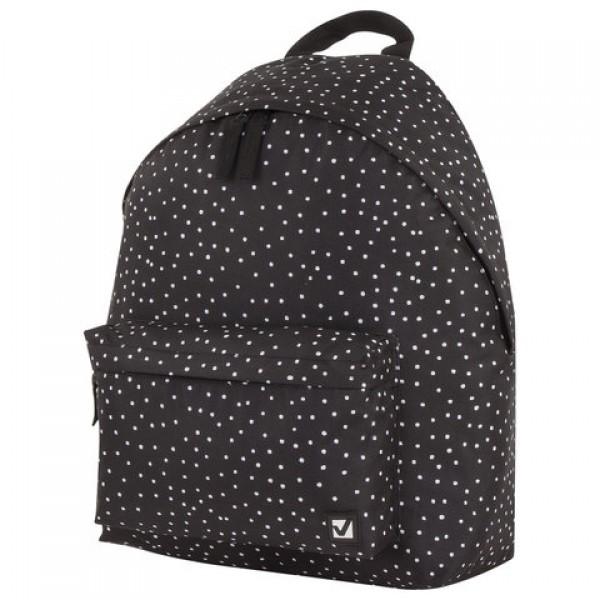 Рюкзак BRAUBERG, универсальный, сити-формат, черный в горошек, 20 литров, 41х32х14 см, 228845
