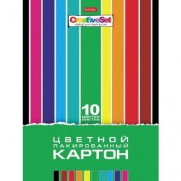 Картон цветной А4 ЛАКИРОВАННЫЙ, 10 листов, 10 цветов, в папке, HATBER, 205х295 мм, Creative Set, 10Кц4л_05930