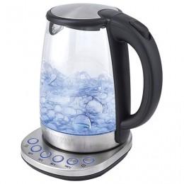 Чайник KITFORT КТ-618, 1,7 л, 2200 Вт, закрытый нагревательный элемент, 4 режима нагрева, стекло, серебристый, KT-618