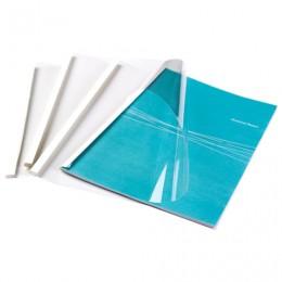 Обложки для термопереплета FELLOWES, комплект 100 шт., А4, 10 мм, 81-100 л., верх - прозрачный ПВХ, низ - картон, FS-53914