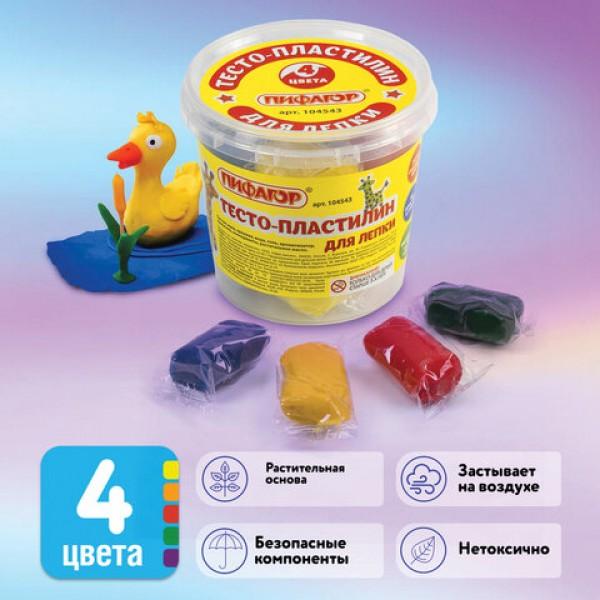Пластилин на растительной основе (тесто для лепки) ПИФАГОР, 4 цвета, 240 г, пластиковый стакан, 104543