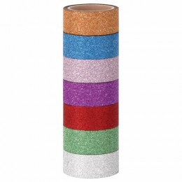 Клейкие ленты полимерные для декора с блестками ИНТЕНСИВ, 15 мм х 3 м, 7 цветов, ОСТРОВ СОКРОВИЩ, 661715