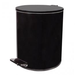 Ведро-контейнер для мусора с педалью УСИЛЕННОЕ, 15 л, кольцо под мешок, черное, оцинкованная сталь