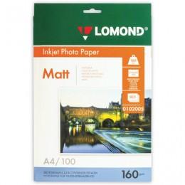 Фотобумага для струйной печати, А4, 160 г/м2, 100 листов, односторонняя матовая, LOMOND, 0102005