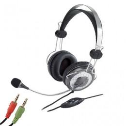 Наушники с микрофоном (гарнитура) GENIUS HS-04SU, проводная, 2 м, стерео, оголовье, mini jack 3,5 мм, 31710045100