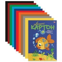 Картон цветной А4 МЕЛОВАННЫЙ, 10 листов 10 цветов, в папке, HATBER VK, 195х290 мм, Рыбка, 10Кц4 03230, N217269