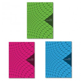 Тетрадь А4 80л. HATBER скоба, клетка, обложка картон, New Line (3 вида), 80Т4В3