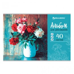 Альбом для рисования А4 40 л., скоба, выборочный лак, BRAUBERG, 202х285 мм, Цветы в вазе (1 вид), 105100