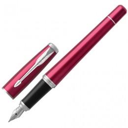 Ручка перьевая PARKER Urban Core Vibrant Magenta CT, корпус пурпурный глянцевый лак, хромированные детали, синяя, 1931599