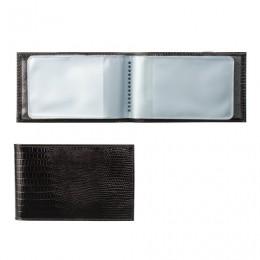 Визитница карманная BEFLER Ящерица, на 40 визитных карт, натуральная кожа, тиснение, черная, V.30.-3