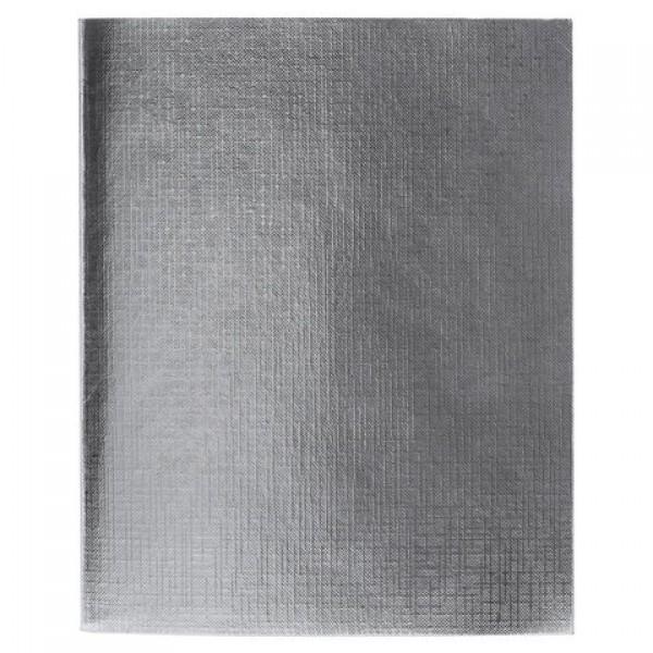 Тетрадь бумвинил А5, 96 л., скоба, офсет №1, линия, с полями, СЕРЕБРО Metallic, HATBER, 96Т5бвВ2