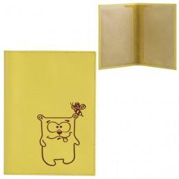 Обложка для паспорта FABULA Friends, натуральная кожа, тиснение, лимон, O.30.CH