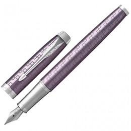 Ручка перьевая PARKER IM Premium Dark Violet CT, корпус фиолетовый с гравировкой, хромированные детали, синяя, 1931636