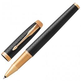 Ручка-роллер PARKER IM Premium Black GT, корпус черный матовый с гравировкой, позолоченные детали, черная, 1931660