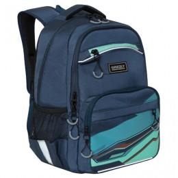 Рюкзак GRIZZLY школьный, анатомическая спинка, синий, 39x28x19 см, RB-054-2/3