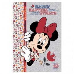Набор цветного картона и бумаги А4 мелованные, 10+10 листов, в папке, HATBER, 194х280 мм, Минни Маус, 20НКБ4, 20НКБ4_20572